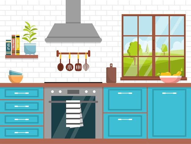 Interior da cozinha com móveis interior aconchegante da cozinha com exaustor e utensílios