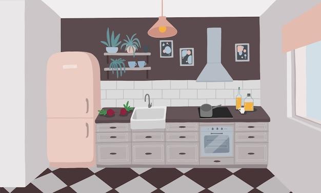 Interior da cozinha com móveis