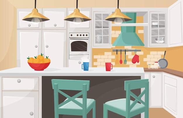Interior da cozinha em design tradicional de madeira
