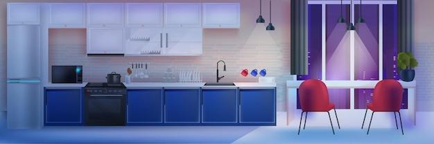 Interior da cozinha moderna à noite vazio, sem casa de pessoas, quarto com mobília