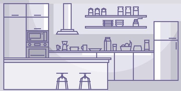 Interior da cozinha moderna casa dentro de casa, móveis de aparelhos de cozinha ilustração em vetor linear.