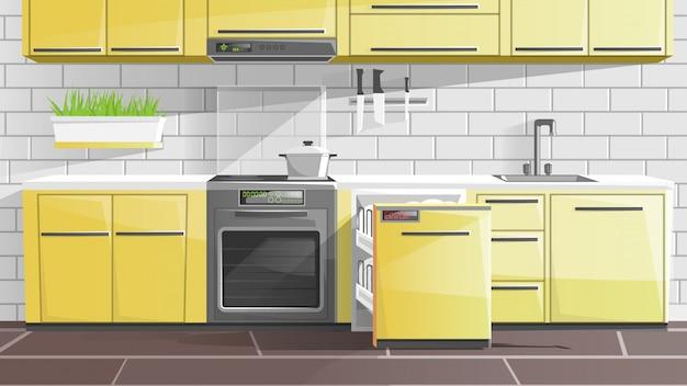 Interior da cozinha no apartamento, móveis modernos.