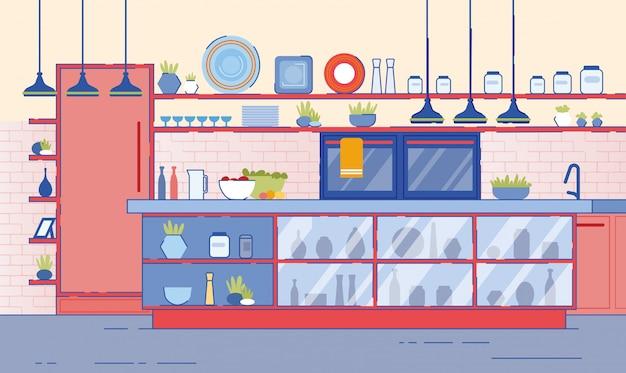 Interior da cozinha vazia com torneira de balcão do forno