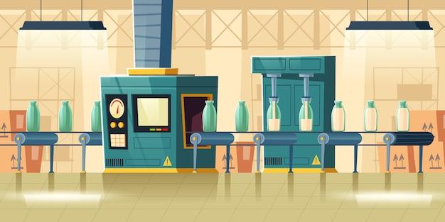 Interior da fábrica de leite, garrafas de vidro na transportadora