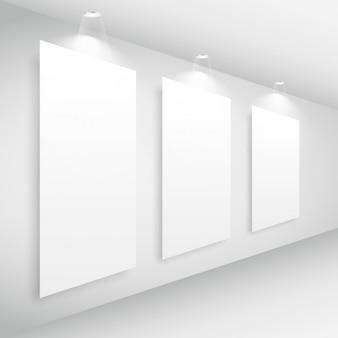 Interior da galeria com frame de retrato e luzes