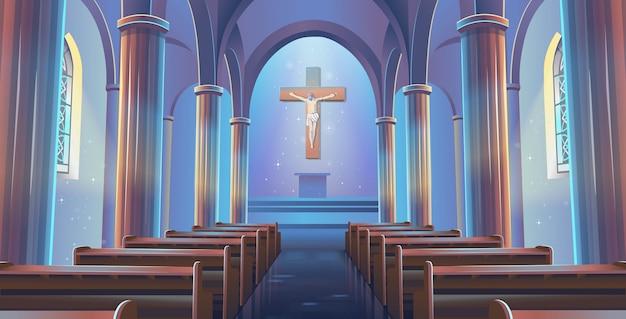Interior da igreja católica com jesus na cruz