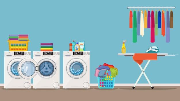 Interior da lavanderia com máquina de lavar,
