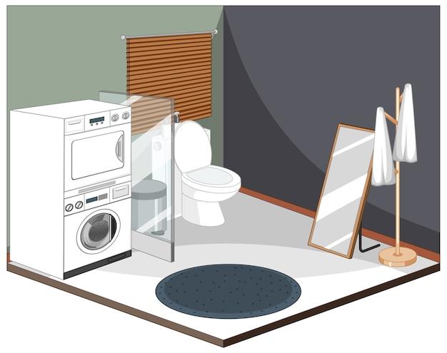 Interior da lavanderia com móveis