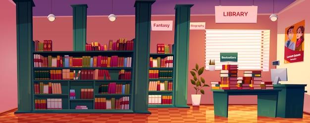 Interior da livraria com prateleiras, mesa e balcão de caixa.