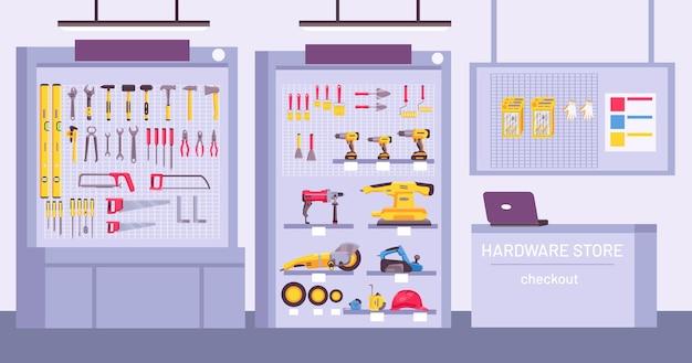 Interior da loja de ferragens. loja com balcão, prateleiras com sortido, instrumentos para reparação doméstica. ferramentas de construção oferecem o conceito de vetor. ilustração de loja de ferragens ou interior de loja