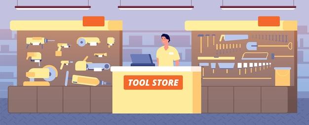 Interior da loja de ferramentas. loja de ferramentas, ferragens de construção na prateleira. vendedor no balcão mostrando instrumentos para ilustração vetorial de construtores. loja de conserto, interior da loja com instrumento