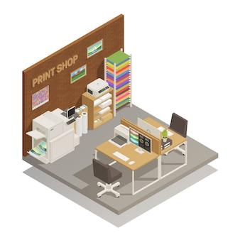Interior da loja de impressão isométrico