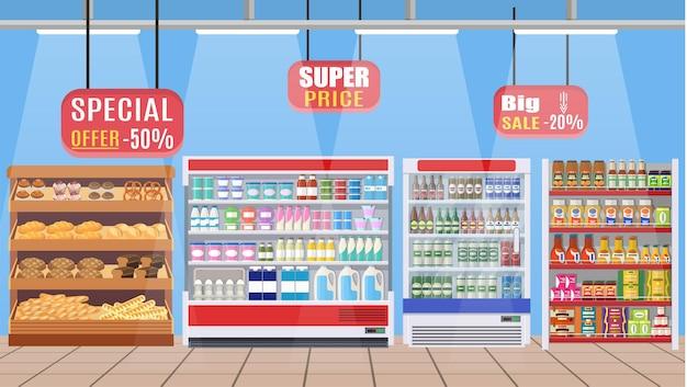 Interior da loja de supermercado com mercadorias. b