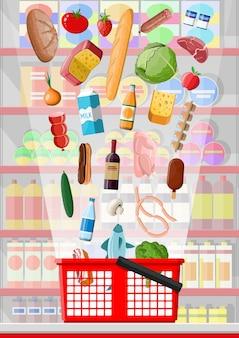 Interior da loja de supermercado com mercadorias. grande centro comercial. loja interna dentro. balcão de checkout, mercearia, bebidas, alimentos, frutas, laticínios. ilustração vetorial em estilo simples