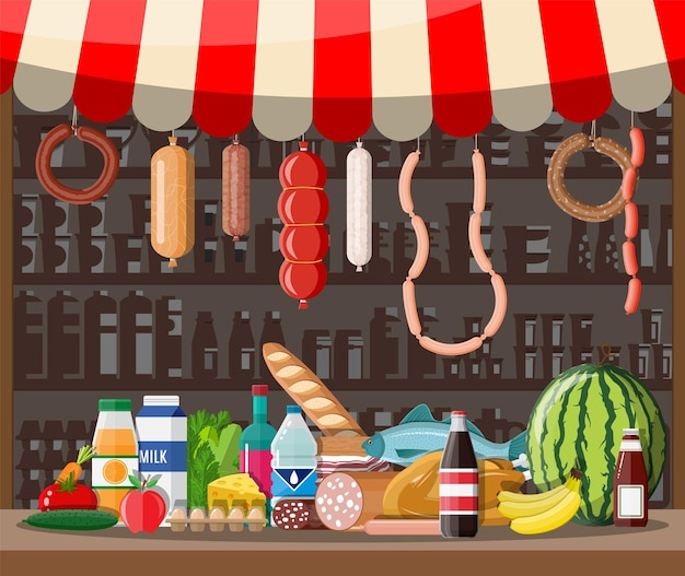 Interior da loja do mercado com mercadorias. grande centro comercial. loja interna dentro. balcão de checkout, mercearia, bebidas, alimentos, frutas, laticínios. ilustração vetorial em estilo simples
