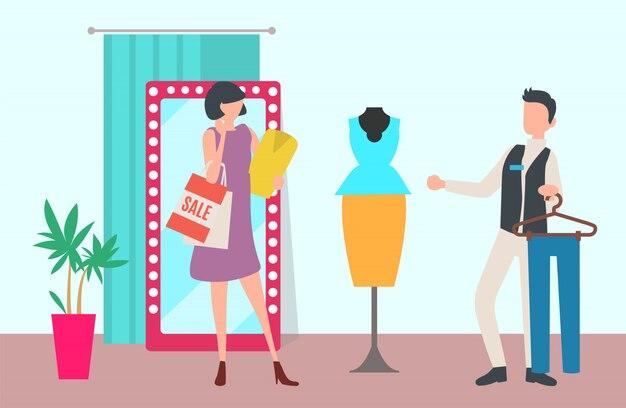 Interior da loja ou boutique, compras e atendimento ao cliente