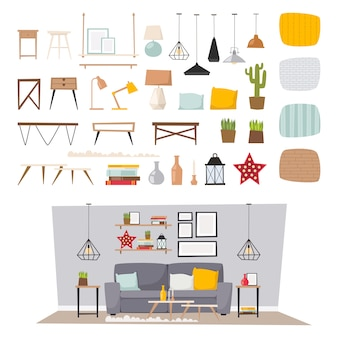 Interior da mobília e ilustração lisa ajustada do ícone home do conceito da decoração.
