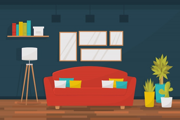 Interior da moderna sala de estar com sofá aconchegante, fotos na parede, plantas da casa, lâmpada de assoalho e estante. apartamento moderno. plano .