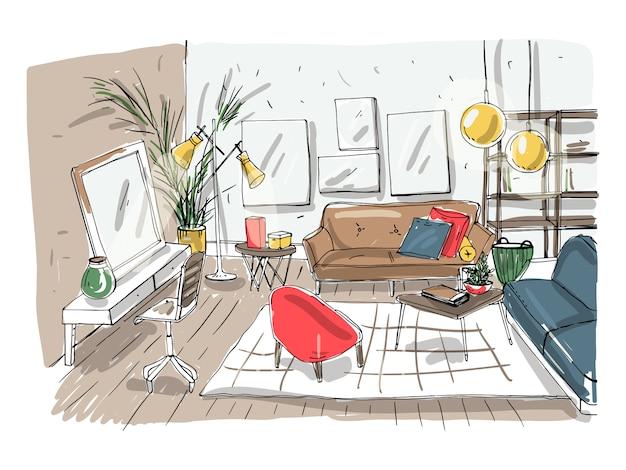 Interior da moderna sala de estar. sala de estar mobilada. desenho de ilustração colorida sobre fundo claro.