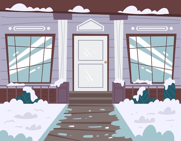 Interior da porta da frente da fachada da casa de inverno