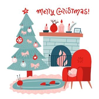 Interior da sala com lareira de natal em colorido estilo simples escandinavo. árvore de natal, decoração, poltrona vermelha, lareira. interior aconchegante de celebração de noite de natal.