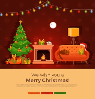 Interior da sala com lareira de natal em estilo simples dos desenhos animados coloridos. árvore de natal, presentes, decoração, corrente de lâmpada, sofá, lareira. ilustração interior de celebração de noite de natal noel aconchegante.