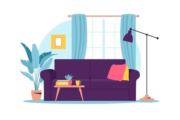 Interior da sala com mobília. sofá moderno com mini mesa. desenho plano.