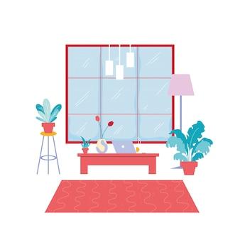 Interior da sala com móveis de escritório, trabalho em casa