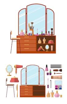 Interior da sala com penteadeira. os cosméticos da mulher objetam na ilustração lisa do vetor do estilo. móveis para boudoir feminino.
