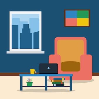 Interior da sala com poltrona, foto, laptop e mesa de café