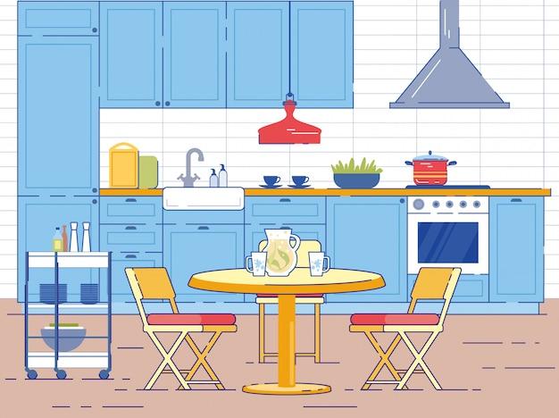 Interior da sala cozinha com mesa redonda e cadeiras
