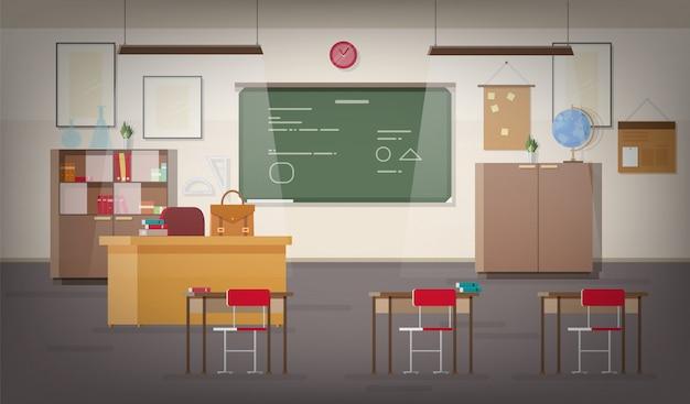 Interior da sala de aula da escola com lousa de parede verde, lugar para professor, luzes pendentes, mesas, cadeiras e outros móveis para estudar e ensinar.