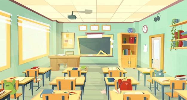 Interior da sala de aula da escola. universidade, conceito educacional, quadro negro, mesa