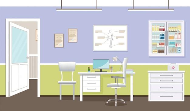 Interior da sala de consulta do médico na clínica.