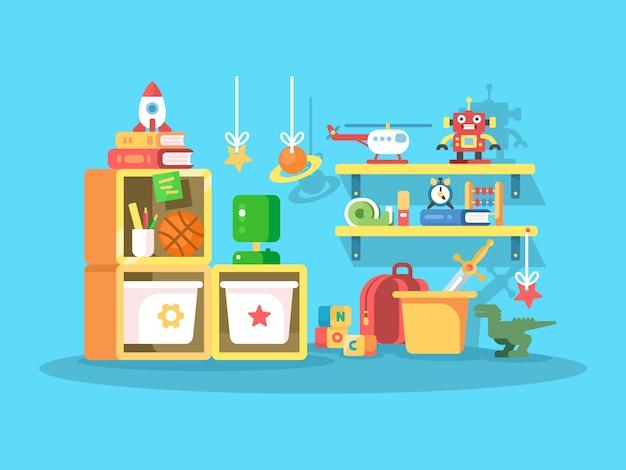 Interior da sala de criança com os brinquedos de bola, robô, helicóptero. ilustração vetorial