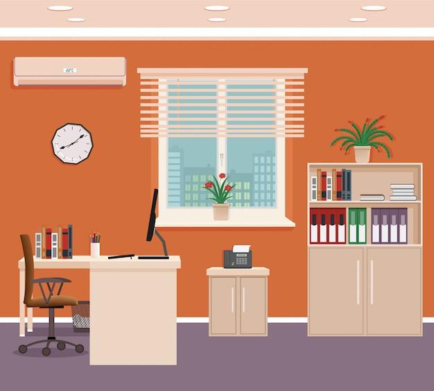 Interior da sala de escritório com espaço de trabalho e paisagem urbana fora da janela. organização do local de trabalho no escritório de negócios.