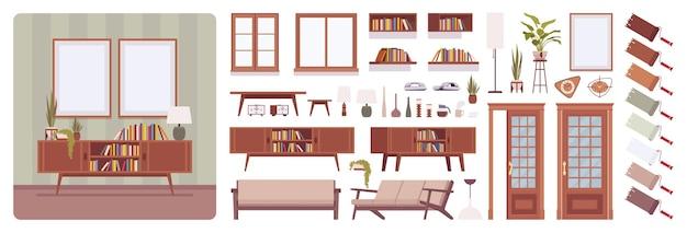 Interior da sala de estar, casa, conjunto de criação de escritório