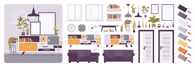 Interior da sala de estar, casa, kit de criação de escritório, conjunto de espaço relaxante para lounge