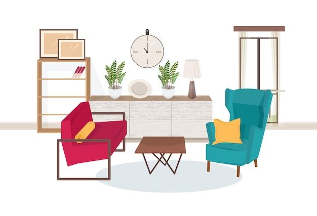 Interior da sala de estar cheia de móveis modernos - poltronas confortáveis, mesa de centro, estantes com livros, plantas de interior, abajur, quadros de parede