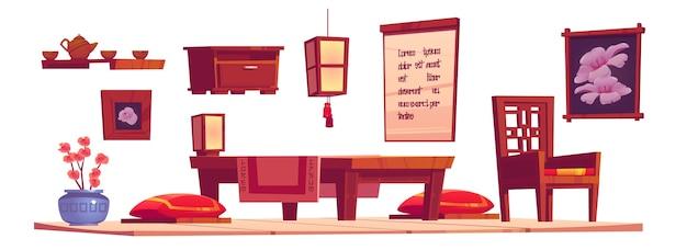 Interior da sala de estar chinesa com mesa de madeira, cadeira e almofadas vermelhas. desenho animado conjunto de móveis em china house, lanterna, bandeja com bule de chá e xícaras isoladas no fundo branco