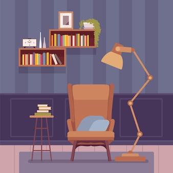 Interior da sala de estar com abajur alto