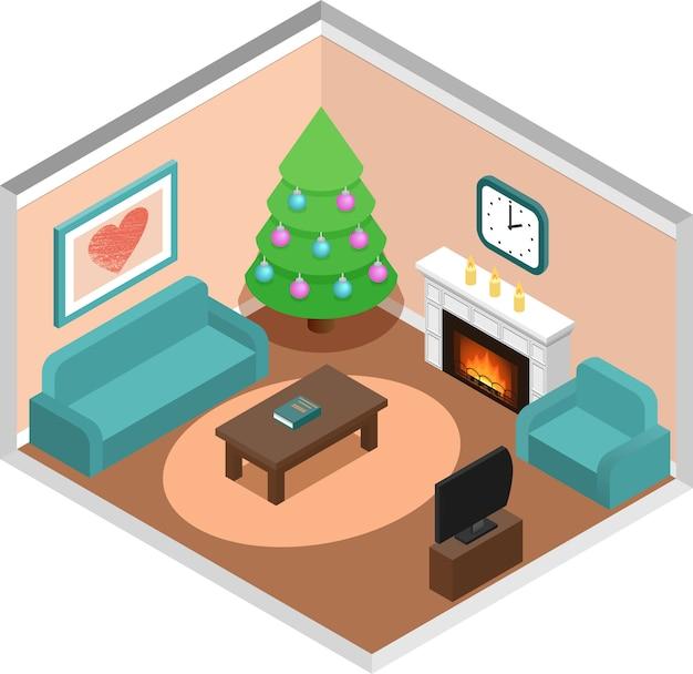 Interior da sala de estar com árvore de natal em estilo isométrico.