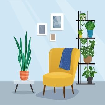 Interior da sala de estar com cadeira e planta de casa