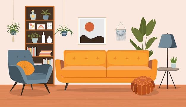 Interior da sala de estar com cadeira sofá-estante. ilustração em vetor estilo simples dos desenhos animados