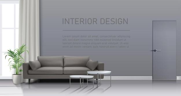Interior da sala de estar com cortinas, sofá e mesinhas de centro