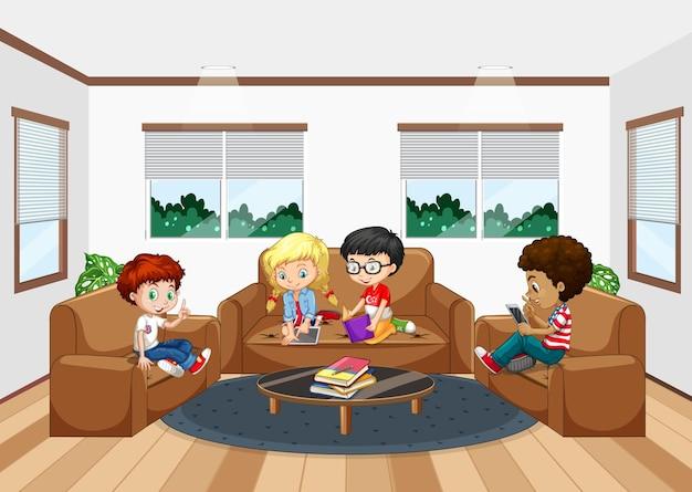 Interior da sala de estar com crianças