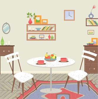 Interior da sala de estar com mesa de jantar