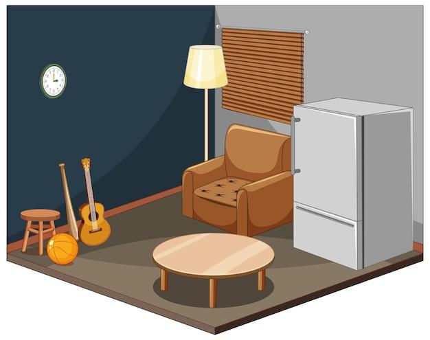 Interior da sala de estar com mobília