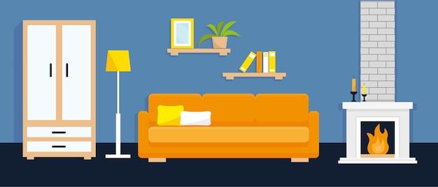 Interior da sala de estar com móveis e lareira