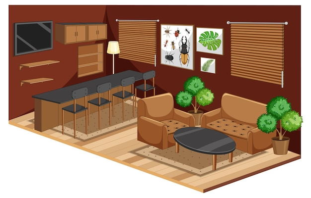Interior da sala de estar com móveis em marrom